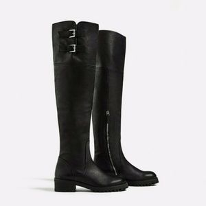 Zara Over the Knee Flat Leather boots black US 5